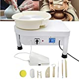 Huanyu Pottery Wheel Machine 350W 25CM 9.8' Electric Ceramic Machine Clay Making Pottery Tool with Detachable Basin for Ceramic Work Clay Art Craft DIY Clay (110V, with Foot Pedal)