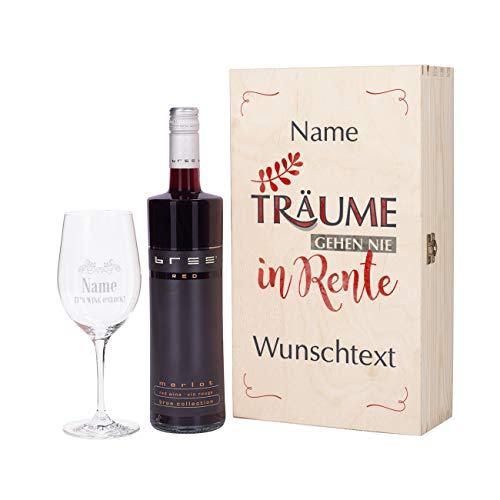 Herz & Heim® Geschenkset zur Rente mit BREE Wein zur Auswahl und Leonardo Weinglas mit persönlicher Gravur Rot