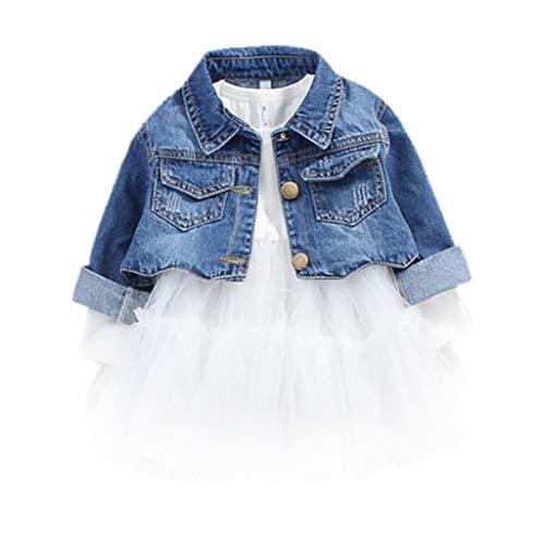 2 Pezzi Bambina Outfits Set Ragazza Manica Lunga Vestito Tutù e Giacca di Jeans Cappotto Primavera Autunno Bianca 3-4 anni