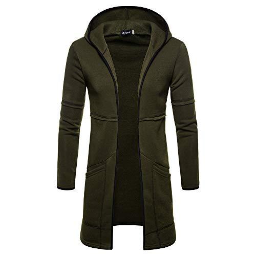 VEMOW heißer Neue Art und Weise Mens Hooded Solid Trenchcoat Jacke Strickjacke Langarm Casual Daily Freizeit Outwear Bluse(Grün, 48 DE/L CN)