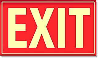 Photoluminescent Aluminum Exit Sign (RED)