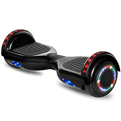 "cho 6.5"" inch Hoverboard Electric Smart Self Balancing Scooter with Built-in Wireless Speaker LED Wheels and Side Lights Safety Certified (Classic Black)"