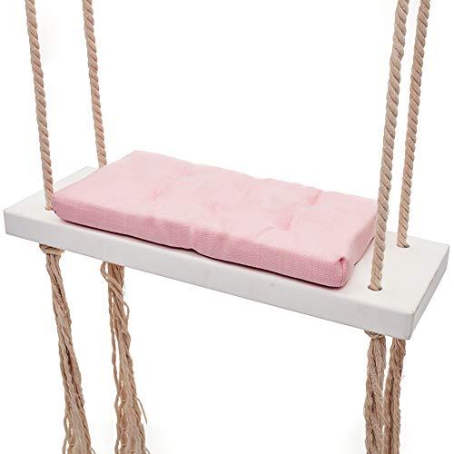 CCFCF Hanging Swing, Coussin Nordique Style éponge, Balancelle en Bois Massif, Salle de Divertissement Décoration, aménagement intérieur, Enfants/Adultes,Rose