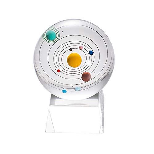 XINSHENG store 3D Sonnensystem Kristall Ball gravierte Miniatur-Planeten Modell Glaskugelkugeln Ornament mit LED-Beleuchtungsbasis (Größe : 8cm)