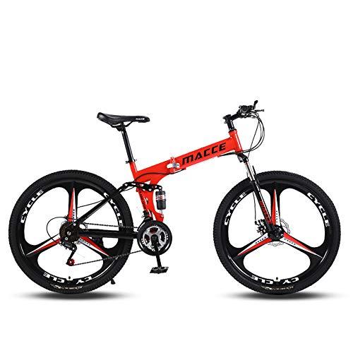 ZZTHJSM City Bike Pieghevole, Bicicletta Richiudibile Donna, Bicicletta Pieghevole da Casa, Bici da Città Pieghevole, Utilizzato per I Bambini Adulti Che Viaggiano con Sport All'aperto,Rosso,C3