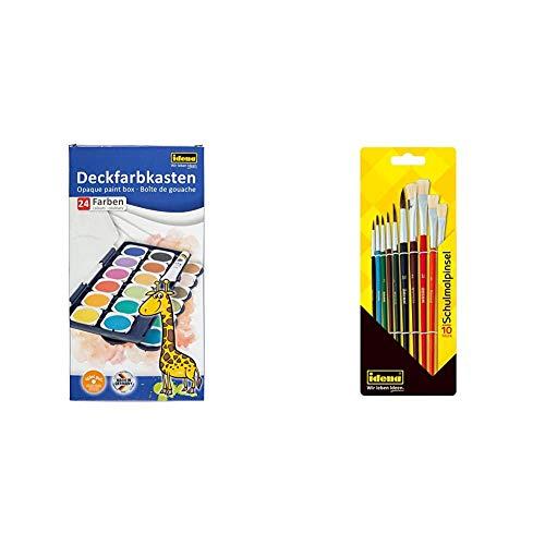 Deckfarbkasten mit 24 Farben und 1 Tube Deckweiß, inklusive Schulmalpinsel, 10-teilig, Verschiedene Haar- und Borstenpinsel, lackiert, ideal für Kindergarten, Schule und zu Hause