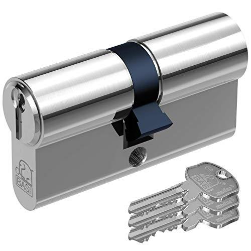BASI AS modus - 22/22 mm Profil-Kurzzylinder, VS, 3 Zylinderschlüssel, 3 Stiftzuhaltungen, Messing vernickelt.