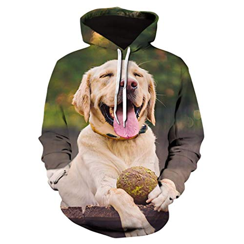 Cute Labrador Dog 3D Animal Printed Hoodie, Casual Fashion Sweatshirt Hombres Mujeres Cool Jacket Street...