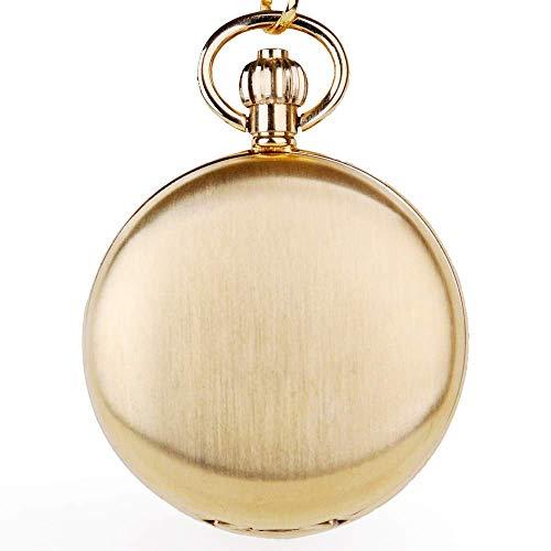 Xping Taschenuhr aus Gold, mechanisch, Unisex, Mondphase, Taschenuhr mit Kette