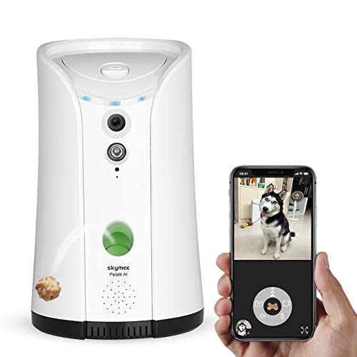 SKYMEE Dog Camera Videocamera per Cani con Treat Dispenser Lancio Croccantini Videocamera per Animali Wifi Telecomando 1080P HD Visione Notturna Audio Bidirezionale, Compatibile con Alexa