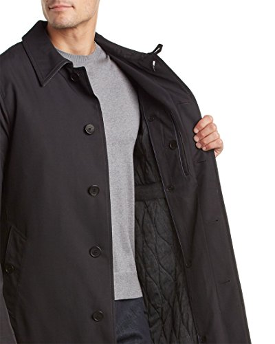 Cole Haan Men's Water Resistant Rain Coat with Removable Liner, Black, Large