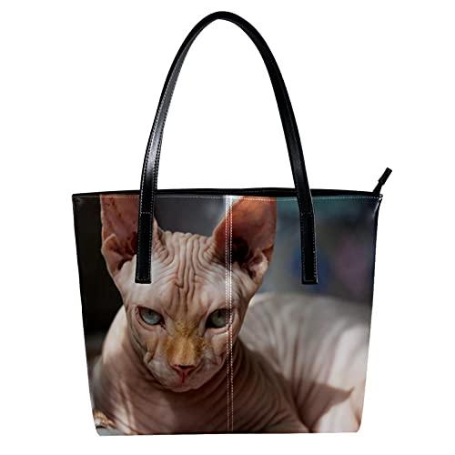 LORVIES Cool Katze Sphynx liegend Schultertasche PU Leder Handtasche Handtasche Damen