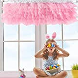 Pink Valance Girl Tulle Valance Curtains for Kids Room Girl Princess Bedroom Windows Baby Nursery Room 52 × 16 inch