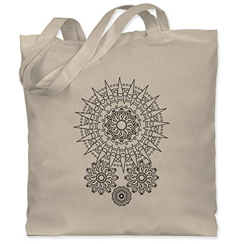 Shirtracer Kunst & Kreativität - Boho Mandala Yoga - Unisize - Naturweiß - jutebeutel mandala - WM101 - Stoffbeutel aus Baumwolle Jutebeutel lange Henkel