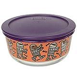 Pyrex (1) 7201 4 Cup Mummy Design Glass Bowl & (1) 7201-PC 4 Cup Purple Plastic Lid