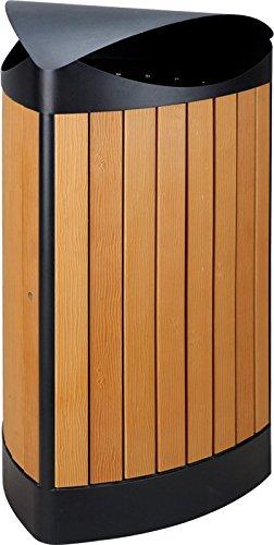 Triangular exterior Papelera en imitación a madera 60L)