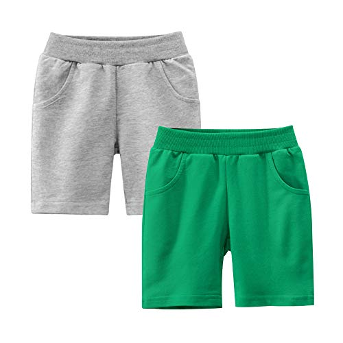 Azalquat Baby Boys Summer Knit Shorts with Pocket, 2 Pack Toddler Pull-On Soft Active Shorts (Green & Grey, 6 Years)