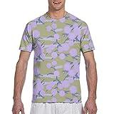 Photo de Lilac Puffballs on Pale Gold Short Sleeve Tee Novelty Teen Unisex T Shirt