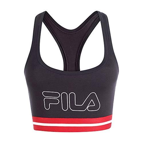 Fila Women's Classic Logo Cotton Racerback Sports Bra Jet Black
