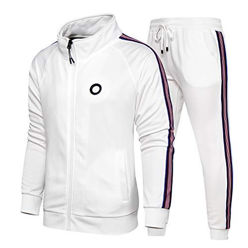 TOLOER Men 2 Piece Tracksuit Set Full Zip Athletic Sweatsuit Outfit Jogger Sport Set White Large