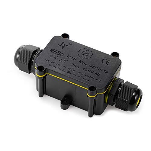 Abzweigdose TÜV geprüfte IP68 wasserdicht Kabelverbinder Verbindungsdose Erdkabel Schwarz Elektrischer Außenverteilerdose für Kabeldurchmesser Ø4mm-12mm(I-form, 1er-pack)