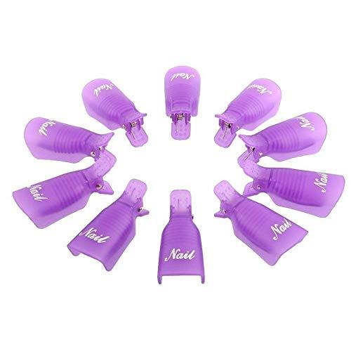 Nagellak Remover Tool Nail Art Soak Off Clip Cap UV Gel Polish Remover Wrap Nail Tool Plastic Nagel Clip Pack van 10, Paars