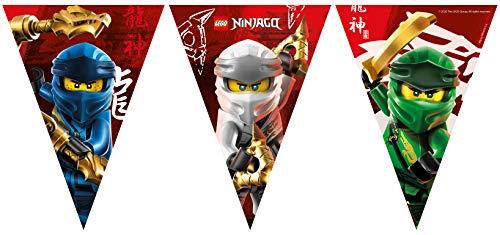 Procos Folat - Guirnalda de banderines de papel compostable Lego Ninjago - 2,3 m, multicolor