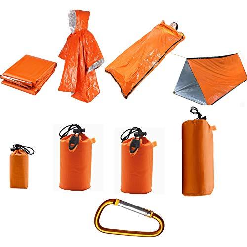 Tienda de emergencia con manta de emergencia y saco de dormir de emergencia, tienda de emergencia para 2 personas para senderismo, preparación de terremotos, equipo de camping excedente