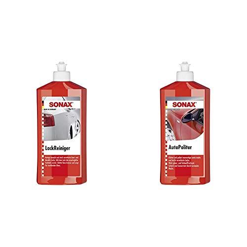 SONAX LackReiniger (500 ml) kraftvolle Politur für stumpfe und stark verwitterte Bunt- und MetallicLacke & AutoPolitur (500 ml) für neuwertige, matte und leicht verwitterte Bunt- und Metallic-Lacke
