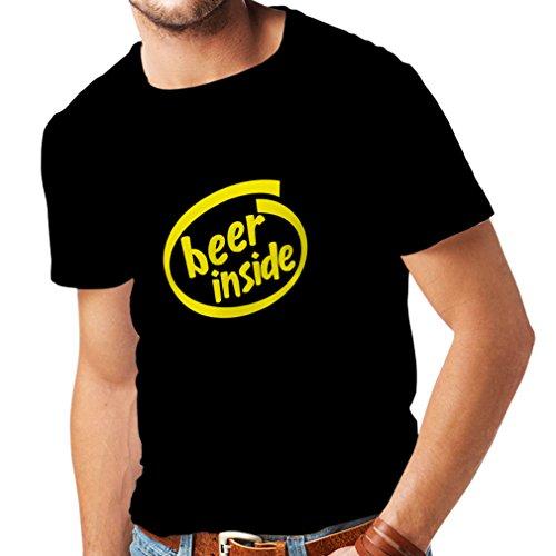 Männer T-Shirt Bier innen - für Bierliebhaber, lustiges Logo, humorvolles Geschenk, Kneipe, Bar, Party-Kleidung (Large Schwarz Gelb)