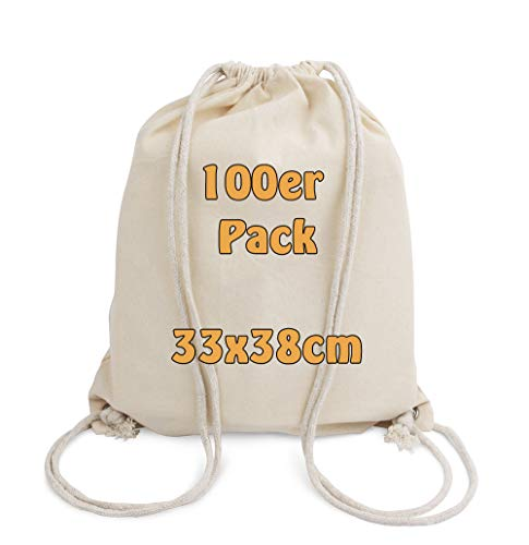 Cottonbagjoe Baumwollrucksack für Kinder | klein, 33x38cm | mit Kordelzug, Natur | 33x38cm | Turnbeutel | Jutebeutel (100 Stück)