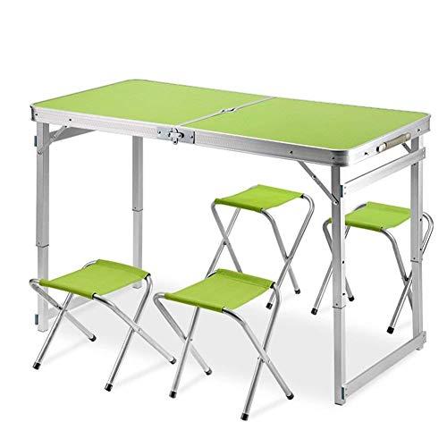 Z-GJM Esstisch für den Außenbereich Klappbarer Campingtisch und -stuhl Der Campingtisch enthält 4 Hocker für tragbare Picknick-Sets. Tragbarer Picknicktisch und Stuhl,Grün