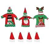EXCEART 3 Pezzi Copri Bottiglia di Vino di Natale Maglione Decorativo per Bottiglie Porta Argenteria di Natale per Le Vacanze