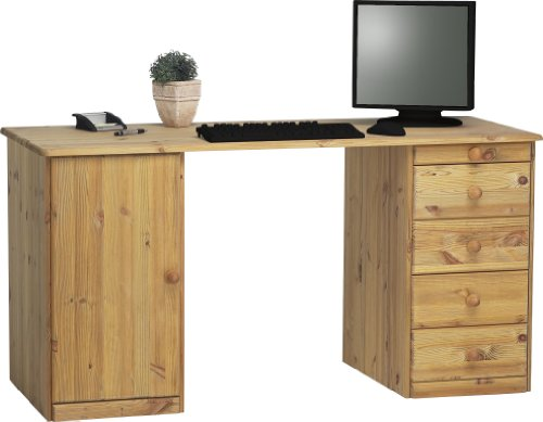Steens Kent Schreibtisch,  1 Tür, 4 Schubladen, 150 x 77 x 60 cm (B/H/T), Kiefer massiv, gelaugt geölt