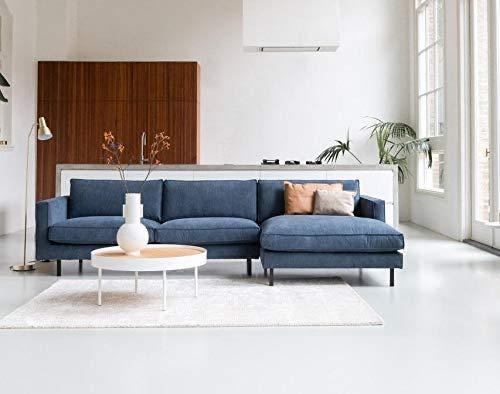 By SIDDE Hoekbank Mads met Recamière rechts, 5 jaar vlekgarantie en retourrecht - Scandinavisch design Cord 603 Blue