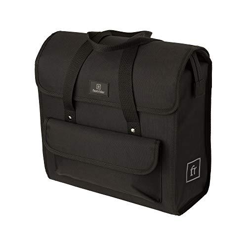 FastRider de Luxe Shopper Fahrradtasche für Gepäckträger, 23L Seitentasche Fahrrad, Reflektierend, Einfache Montage, Re Think Umweltfreundlichem Material - Schwarz