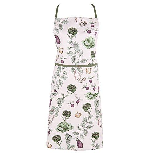 Clayre & Eef TKG41 The Kitchen Garden Kochschürze/Küchenschürze Gemüse/Schürze Damen Grün 70 * 85 cm 100% Baumwolle