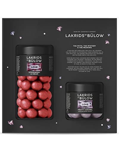 LAKRIDS BY BÜLOW - Love Black Box - 420g - Strawberry & Cream + Fruity Caramel - Muttertagsgeschenk mit Dänischen Gourmet Lakritz-Kugeln in edler Geschenkbox