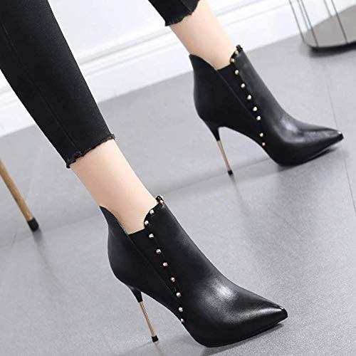 Pumps High Heel Damen Fein mit Spitzen sexy kurzen Stiefeln Modennieten schwarz Wild Martin Stiefel weiblich, 39, schwarzes Leder
