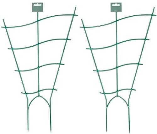 Novatool 2X Pflanzengitter geschwungen I 47 x 28 cm I Kunststoff I Grün I Blumengitter Blumenkasten Rankgitter Balkon Rankhilfe Gitterspalier Spailer