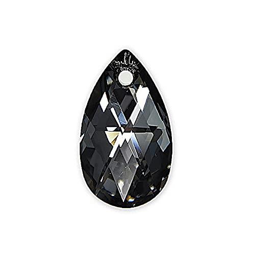 1 colgante con elementos de Swarovski, forma de pera (6106), cristal de noche plateada, 16 mm (colgante Swarovski Elements, forma de pera (6106), cristal plateado nocturno