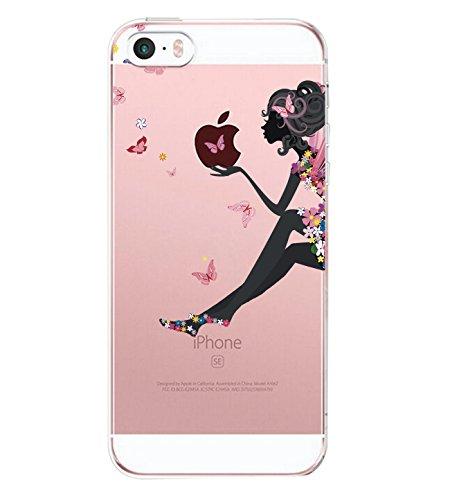 Alsoar Compatibile per Custodia iPhone SE, Cover iPhone 5S /5 Silicone, Cover per iPhone 5s 5 SE Panda Case Silicone Trasparente Morbido Ultra Sottile Gel Protettiva Shock-Absorption (Girl Eating)