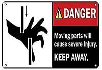 インチの危険可動部品は重傷を引き起こします錫のサインヴィンテージ面白い生き物鉄の絵金属板人格ノベルティ