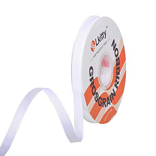 """Lkitty 9mm x 45metros/rollo Cinta de grosgrain Artesanía Cintas sólidas de tela para regalos de bricolaje Envoltura de fiesta Flores de boda Accesorios para el cabello,Ancho:3/8"""" (Blanco)"""