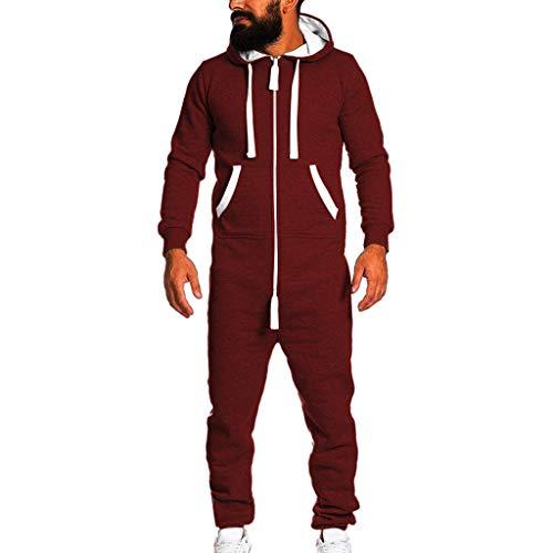 Amphia - Paar Herbst und Winter Modelle warme Kapuzen-StramplerHerren-Unisex-Overall Einteiliges Kleidungsstück Non Footed Pyjama Playsuit Bluse Hoodie
