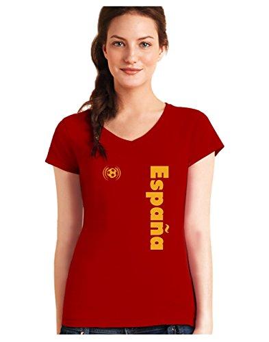 Green Turtle T-Shirts Camiseta de Cuello V para Mujer - Apoya a la Selección Española en el Mundial de Fútbol! X-Large Rojo