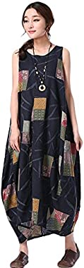 Minibee Women's Unique Style Print Casual Hi Low Dress Fit US XS-M