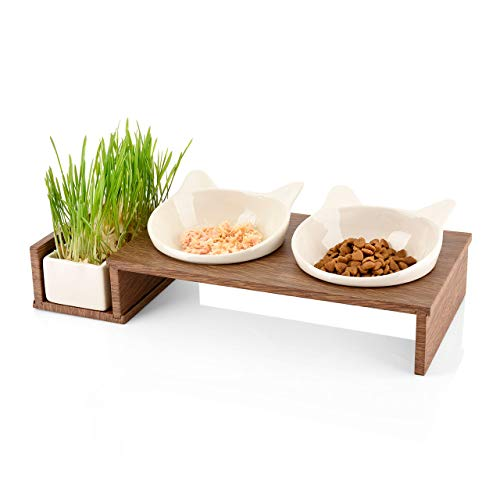 CanadianCat Company ® | Futterbar Cat Diner für Katzen mit dritter Schale für z.B. Katzengras o. Trockenfutter im Holzoptikständer Napf, Fressnapf, Futterschale