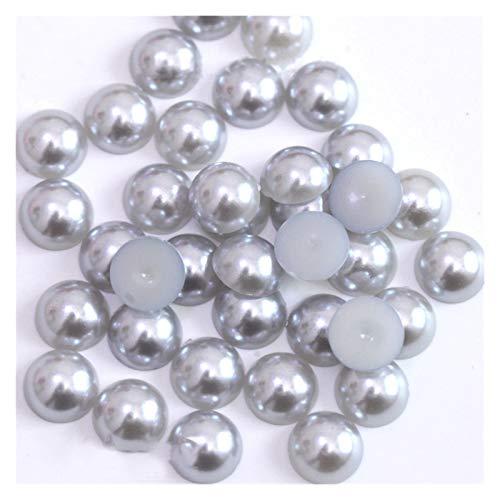 WEIGENG Perlas de acrílico de 2/3/4/5/6/8/10/12/14 mm de imitación de perlas medias redondas de color rojo negro y rosa para hacer joyas (color gris claro, tamaño: 6 mm x 100 unidades)