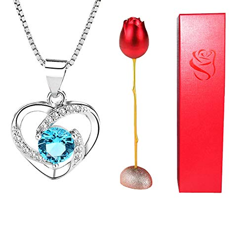ZZZSYZXL Valentine's Day Fashion Romantic Metal Rotating Rose Heart Collarbone Necklace Package for Lovers…